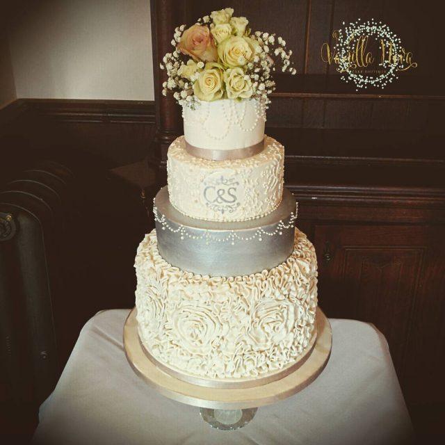 Sugar ruffles for a Valentines Day wedding at Peckforton Castlehellip