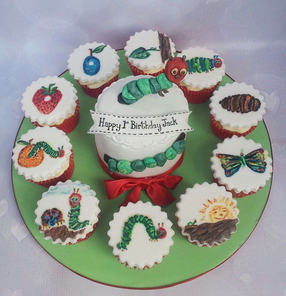 Very Hungry Caterpillar painted cupcakes.