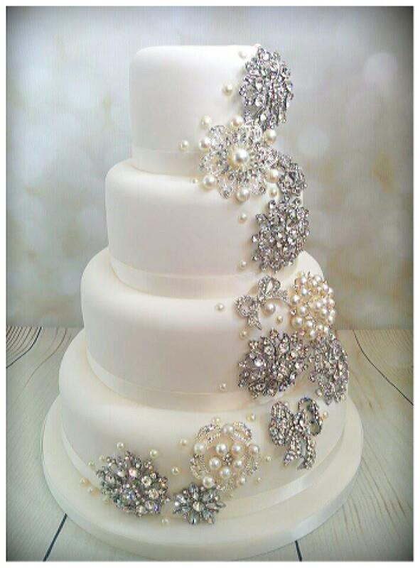 Diamanté and pearl wedding cake