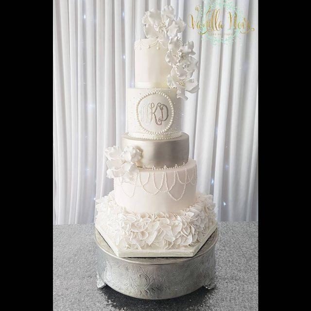 More sugar ruffles and silver weddingcakes2017 silverweddingcakes sugarcraft classicweddingcakes sugarflowershellip
