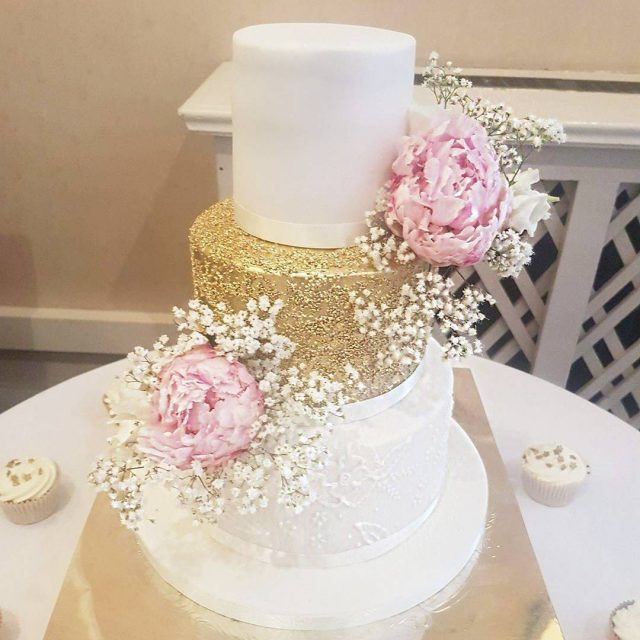 Gold glitter peonies and lace goldandblushweddings weddingcakes2017 elegantweddingcakes threetierweddingcakes peonieshellip
