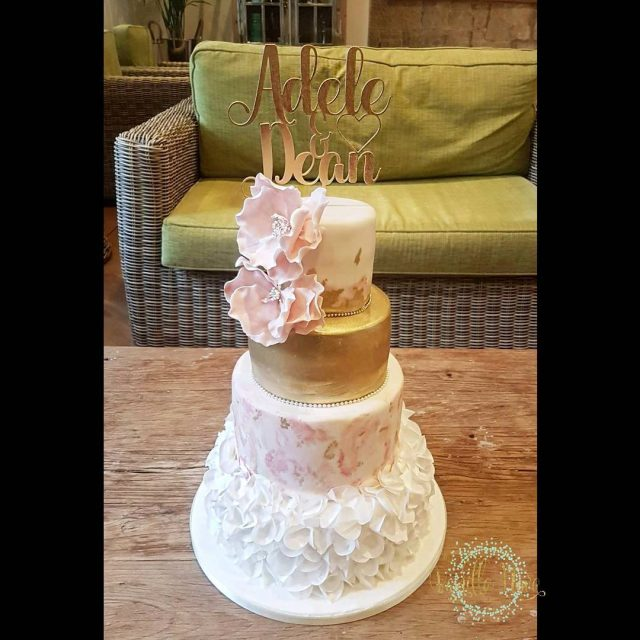 Adele and Deans gorgeous pink and gold marble wedding cakehellip